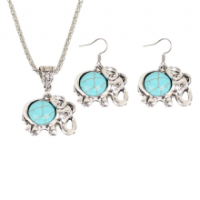 Tibetan Elephant Necklace and Earrings Set